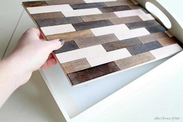 LoveGrowsWild.com | Learn how to take a simple wood tray from plain and boring to fun and fabulous with this easy tutorial!