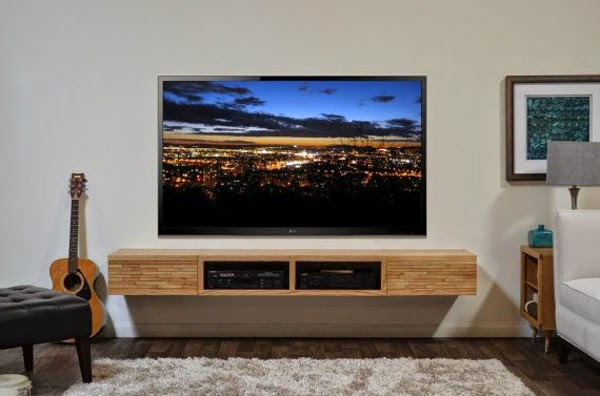 How to use modern tv wall units in living room wall decor for Wall mounted tv designs living room