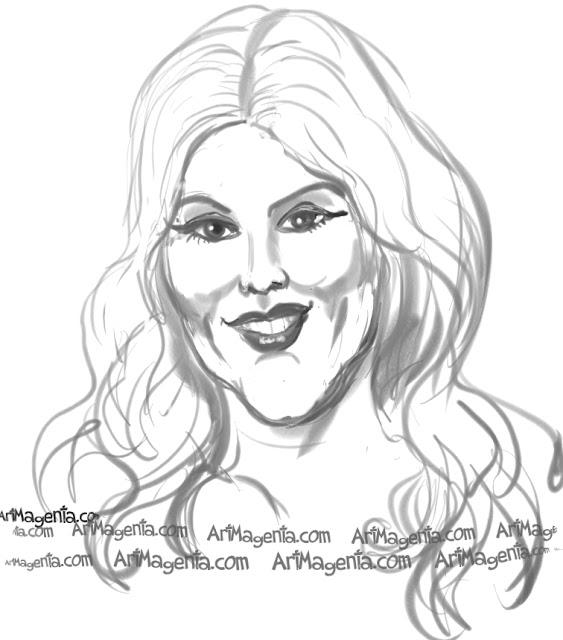 Christina Aguilera caricature cartoon. Portrait drawing by caricaturist Artmagenta.