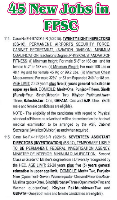 New FPSC Jobs Inspectors in ASF & Assistant Directors Investigation