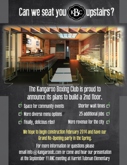 kangaroo boxing club the barbeque spot and bar on 11th just north of park is looking to expand by building a second floor pop included a flyer on the