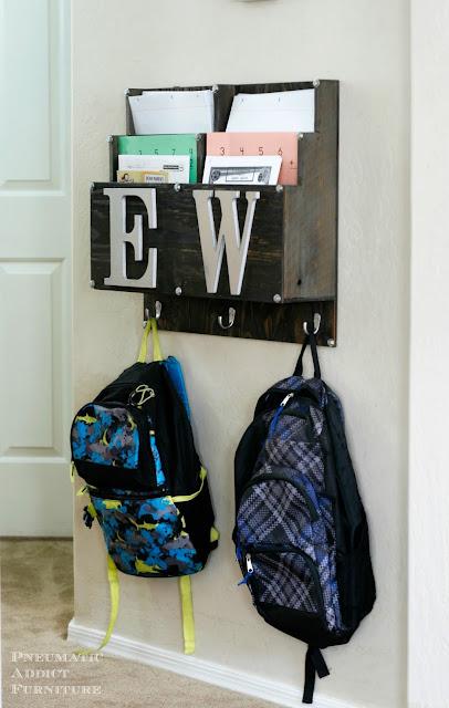 DIY homework and backpack station