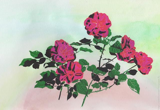 рисунок роз гелевой ручкой