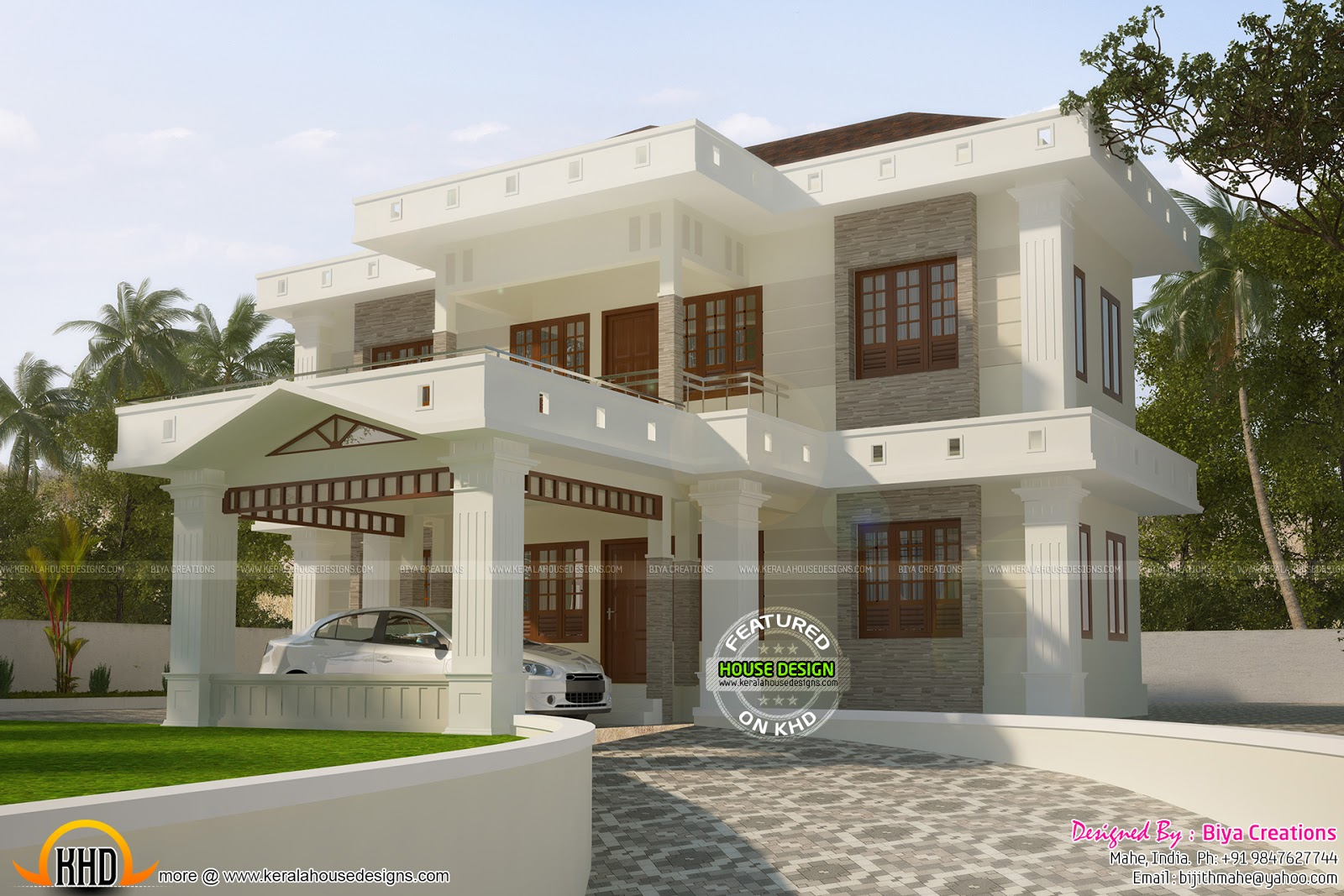 Colorful Flat Roof House Plan Keralahousedesigns