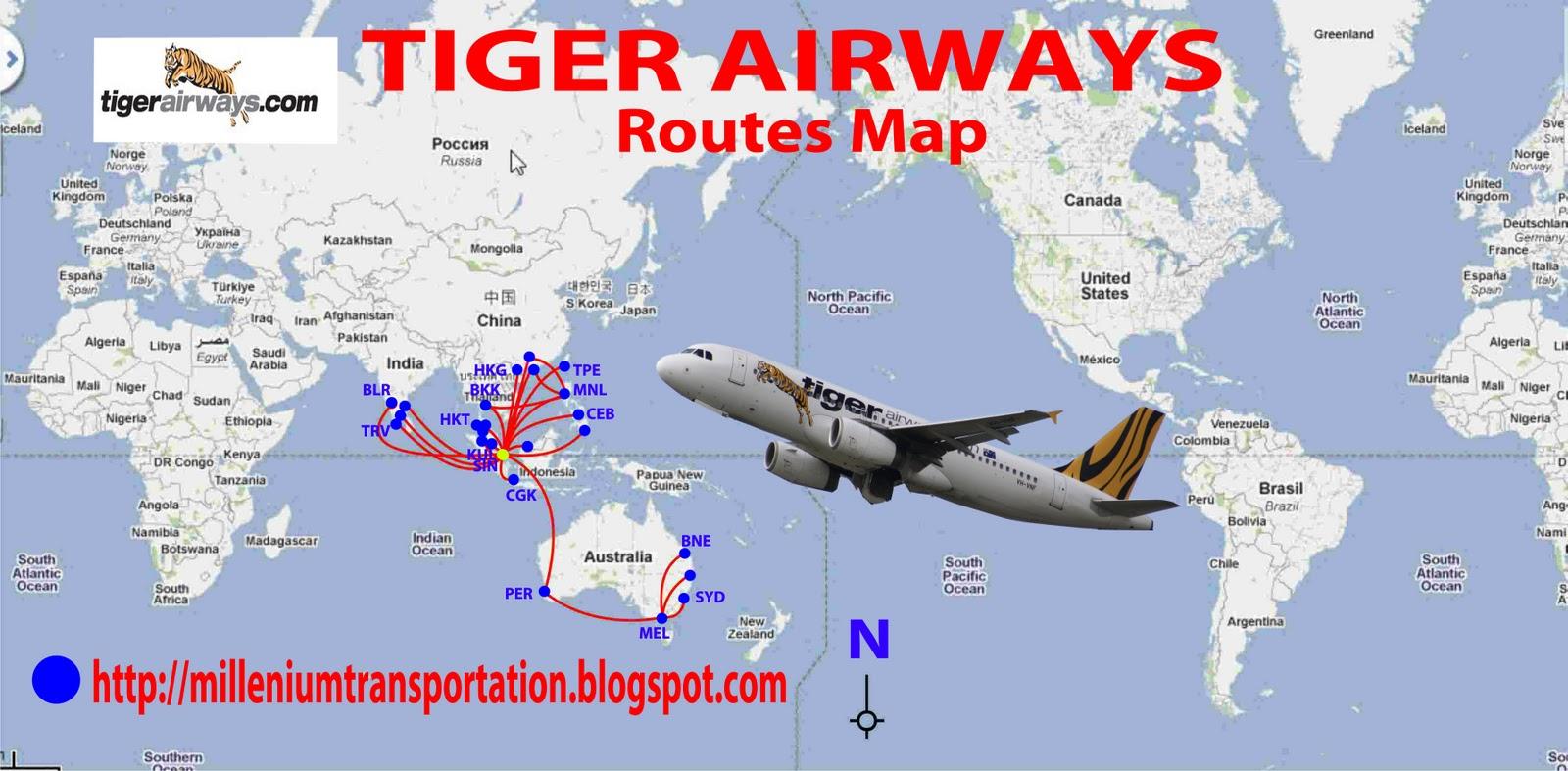 tiger airways routes map figure via milleniumtransportation