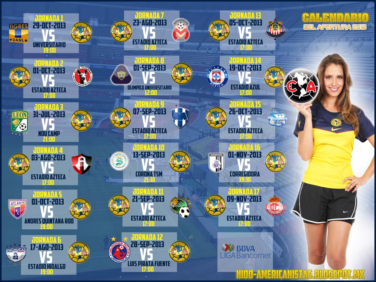 definido el calendario del apertura 2013 calendario club america liga ...