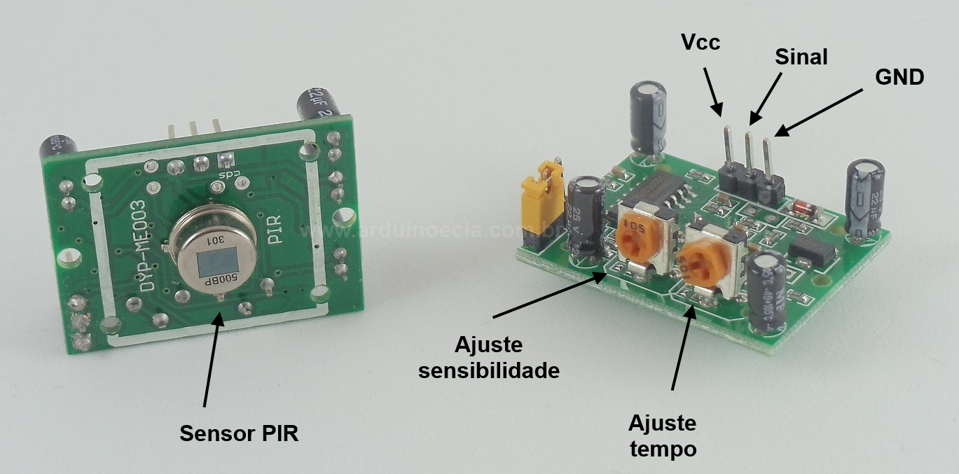 Detalhe módulo PIR Arduino