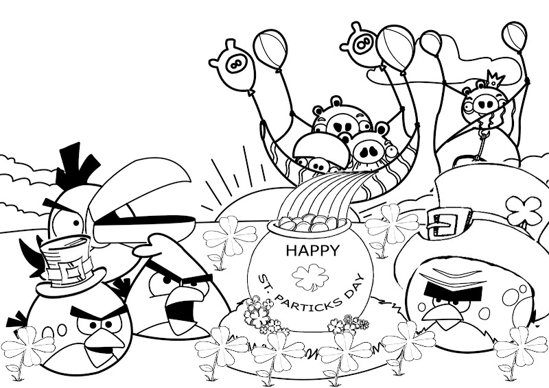 St Patrick's Day Angry Birds coloring pages