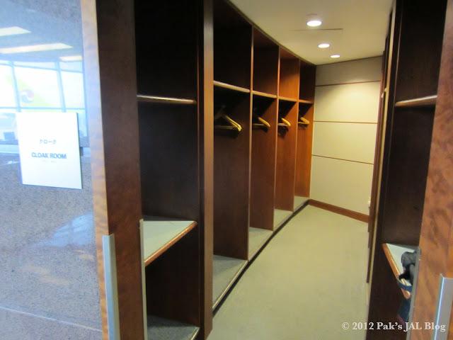 Cloak room at JAL JFK Lounge