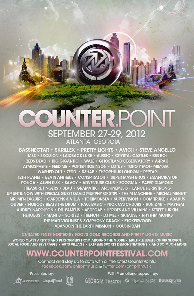 Counterpoint WEB lineup Win Two Tickets To Counterpoint Festival 2012 Presented by MCP Presents + Bowe Inc. + Vibe To This