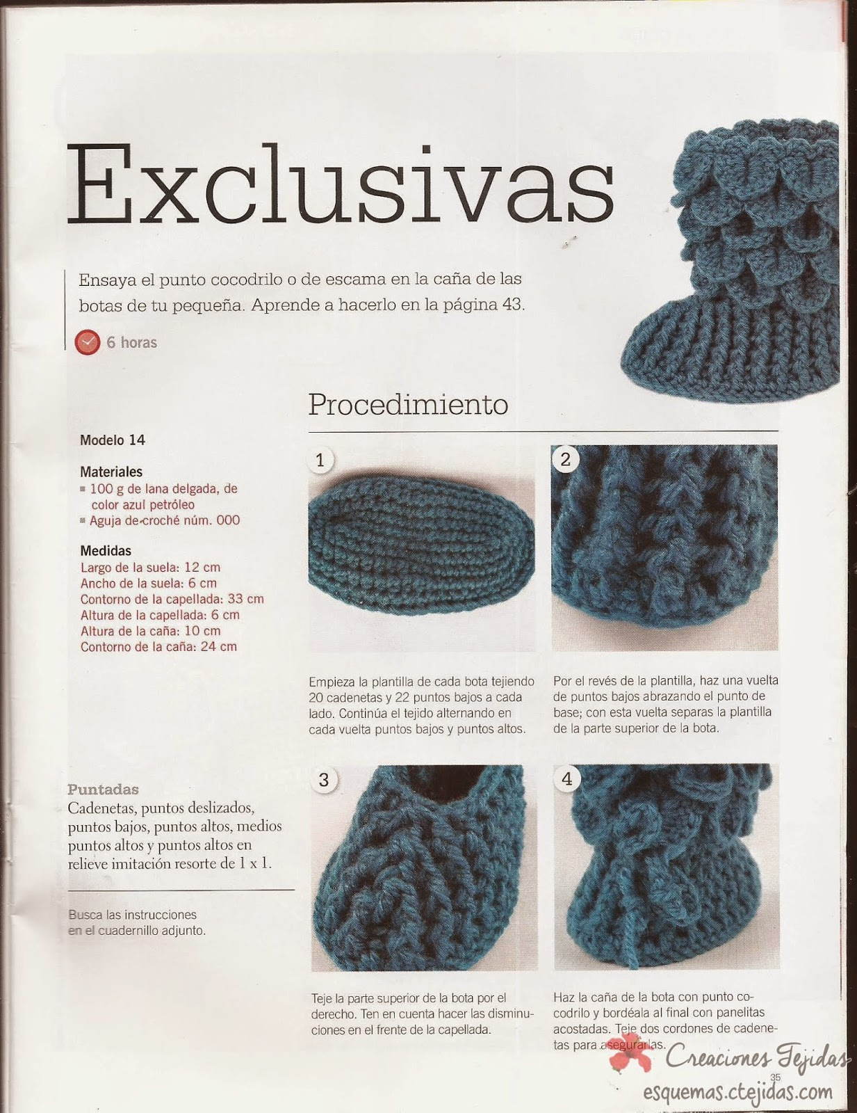 Zapatos a Crochet - Botitas a Punto de Cocodrilo