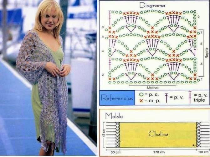 Chal tejido al crochet - con diagrama