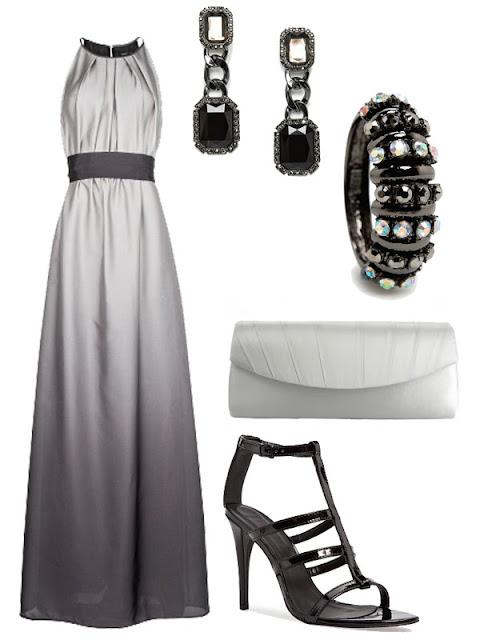 look de boda plata y negro