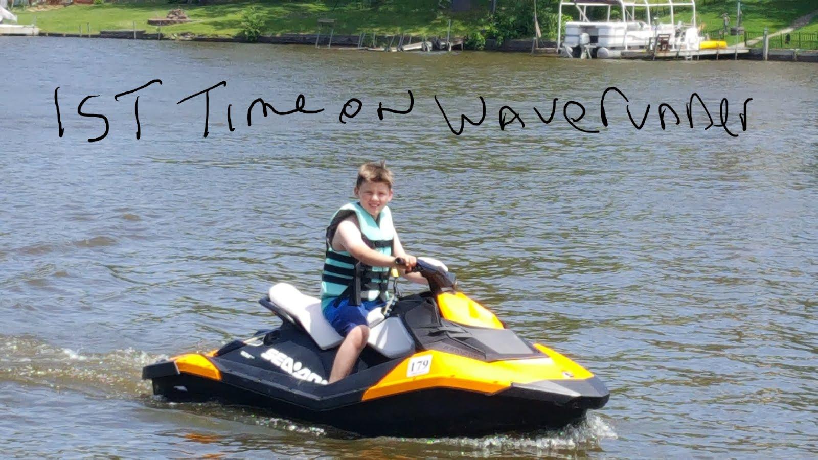 Tyler, 1st time on a waverunner!