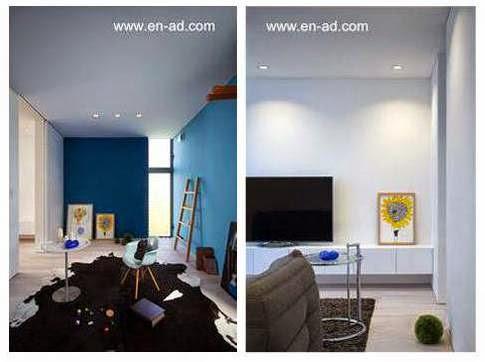 Dos vistas de ambientes en el interior de la casa minimalista