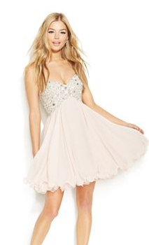 juniors pink and glitter prom dress