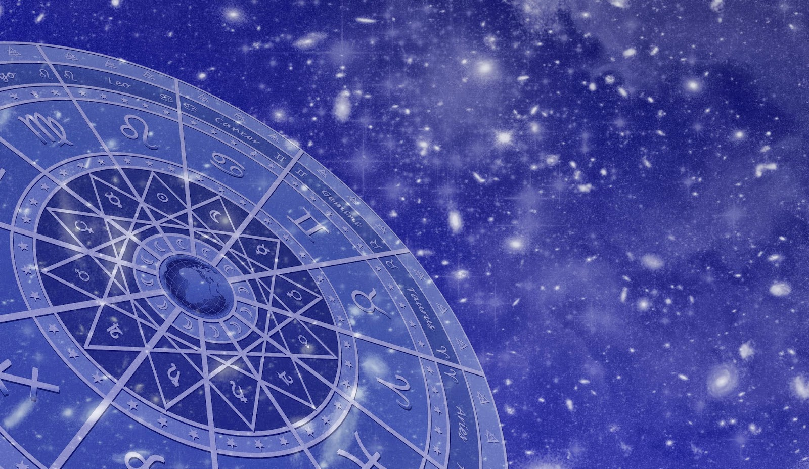Signs of the zodiac on a blue background