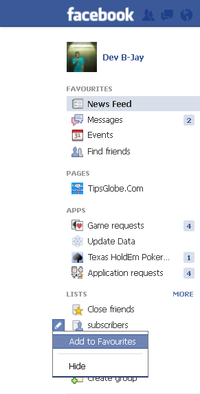 Facebook home page friends pictures on left hand