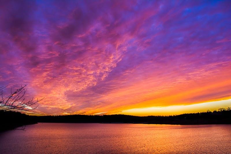 Sunset on Bull Shoals Lake in Theodosia, Missouri