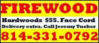 Hardwood Firewood, $55. Face Cord