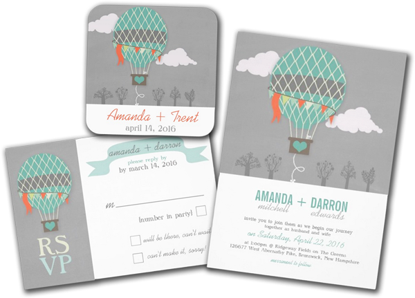 Vintage Hot Air Balloon Chalkboard Wedding Personalized Invitation