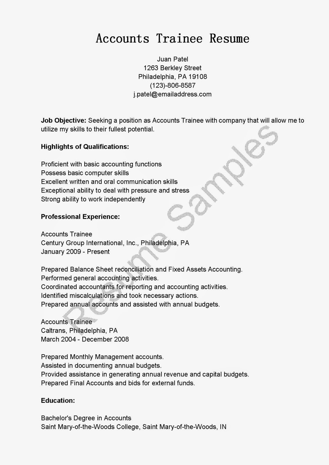 Resume Samples Accounts Trainee Resume Sample