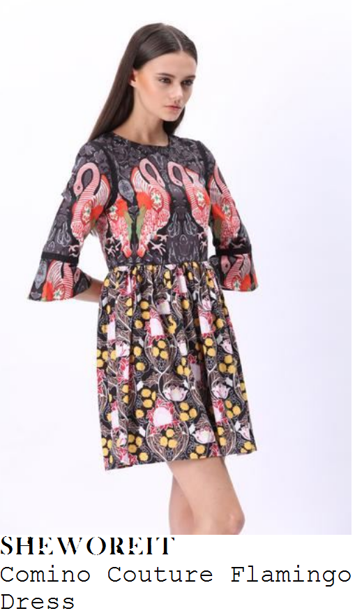 vicky-pattison-black-grey-red-multicoloured-flamingo-bird-mixed-print-three-quarter-sleeve-smock-dress