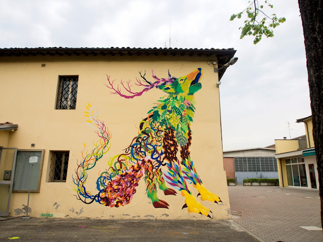 """Gola Hundun is currently in Imola, Italy where he just finished painting his newest mural entitled """"Wild Life Spirit""""."""