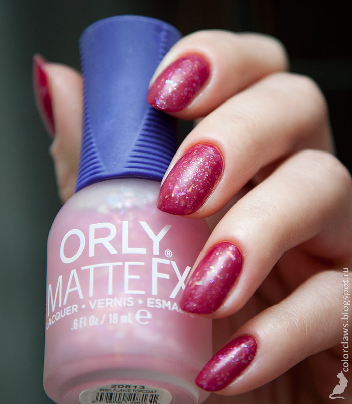 Nais inc. Picadilly Circus + Orly Matte FX Pink Flakie Topcoat