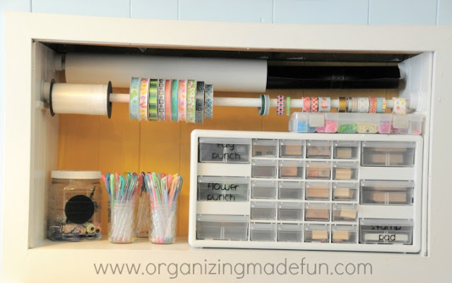 Hang ribbon and washi tape with dowel
