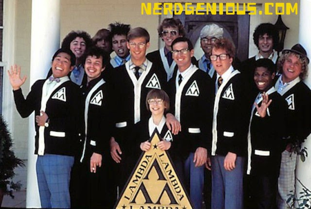 Revenge of the Nerds cast; Robert Carradine, Anthony Edwards, Curtis Armstrong, Timothy Busfield, Brian Tochi