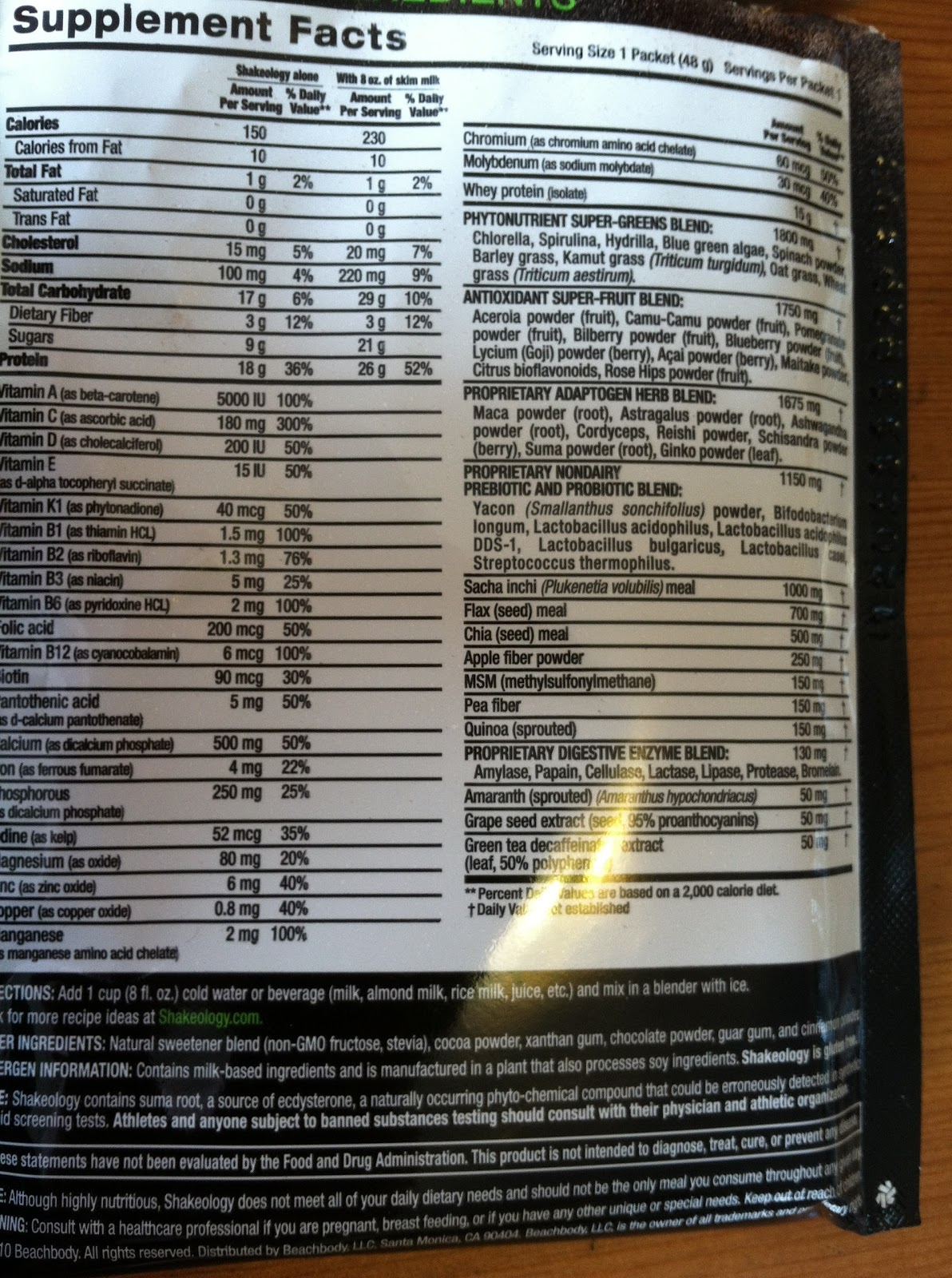Shakeology Vegan Chocolate Nutrition Facts
