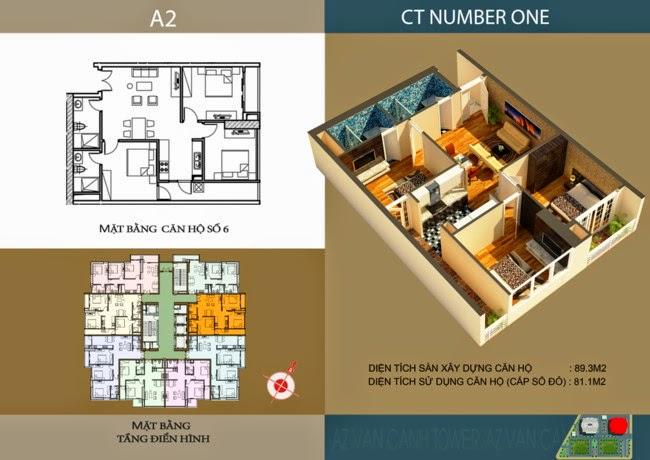 thiết kế chi tiết căn hộ số 6 - 81,1 m2 dự án ct number one