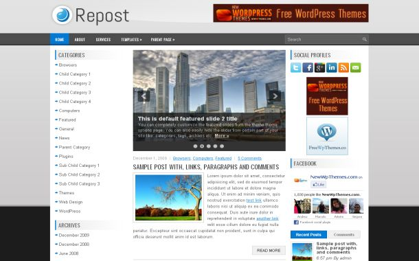 News Silver Jquery Free Wordpress Theme Template