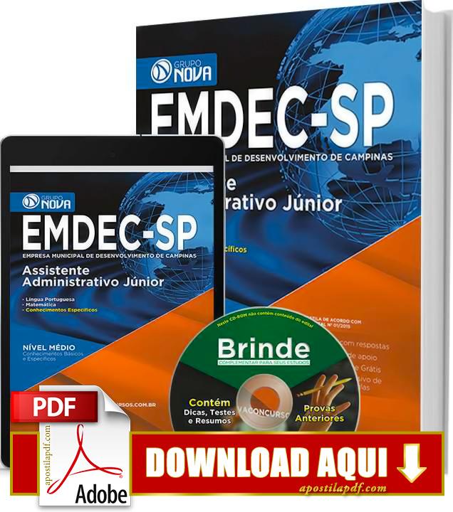 Apostila EMDEC 2015 PDF Download Grátis Assistente Administrativo