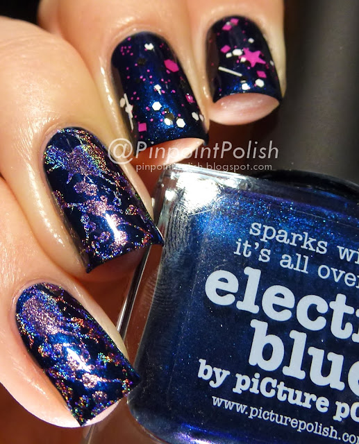 picture polish Electric Blue, Dollish Polish Say Hello To My Kitty, Color Club Miss Bliss, Bundle Monster BM-416