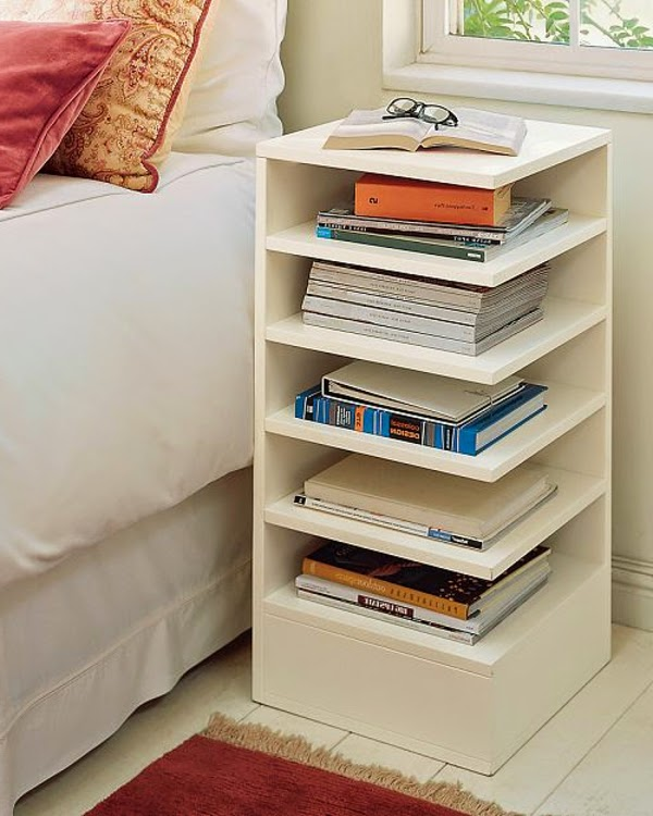 White beside table with plenty of bookshelves - This Is Modern White Bedside Table - 10 Designs And Ideas, Read