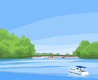 Drawing of the Niagara River as seen from Niawanda Park in Tonawanda, New York. Drawn with Adobe Ideas on an iPad