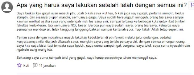 Miris, Ingin Mati Hanya Karena Tak Lulus Kuliah di Kampus Negeri, Bang Syaiha, http://bang-syaiha.blogspot.co.id/