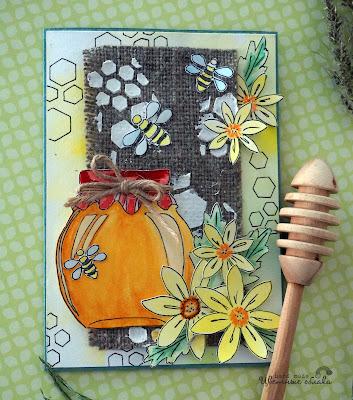 скрапбукинг медовая открытка