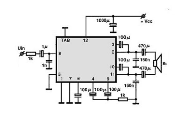btl amplifier circuit using la4550 ic