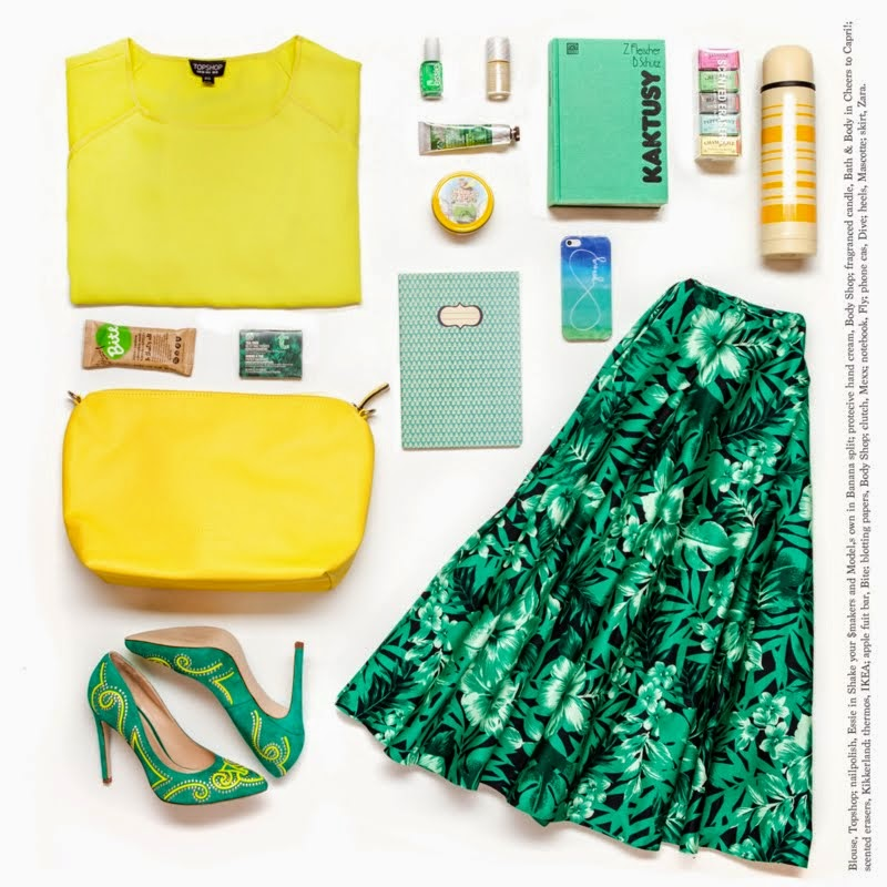yellow, green, flat lay, outfit, essie, biterussia, zara, skirt, topshop, blogger
