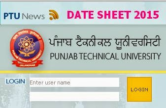 PTU Punab Technical University Date Sheet April 2015