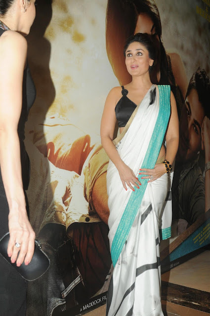 kareena kapoor silk white saree