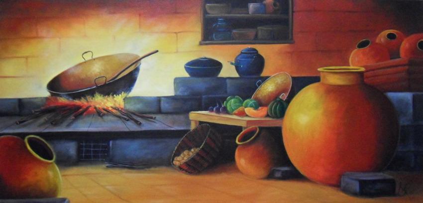 Cuadros modernos pinturas y dibujos estufas y hornillas antiguas pinturas costumbrista para la - Pinturas de cocina ...