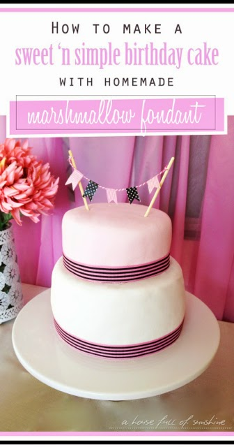 How to make a sweet 'n simple birthday cake with homemade marshmallow fondant! Click through for an easy tutorial at a house full of sunshine.