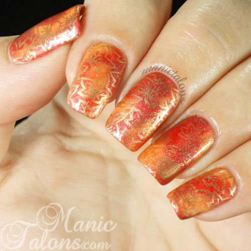 Thanksgiving Manicure with Pigments and Stamping