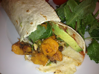 Roasted butternut squash black bean burrito