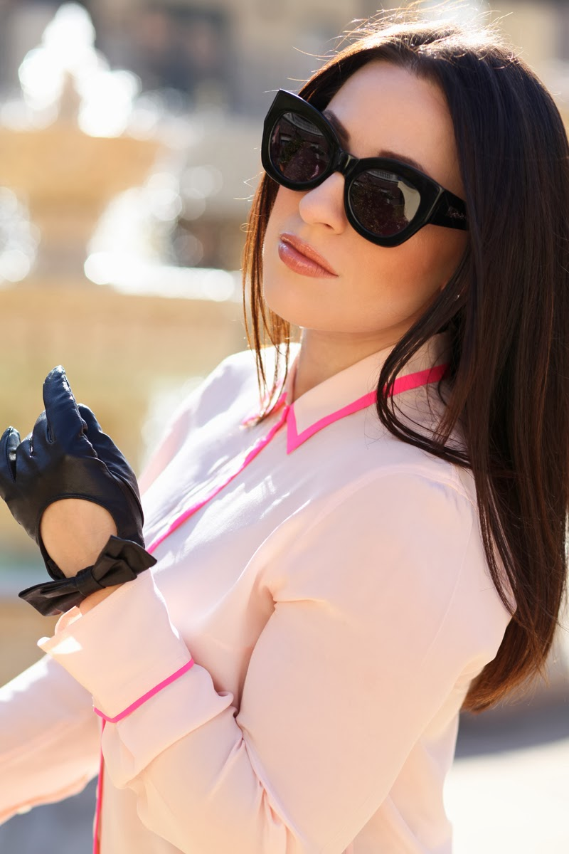karen-walker-sunglasses-leather-bow-moto-gloves-pink-jcrew-top-king-and-kind-fashion-blog