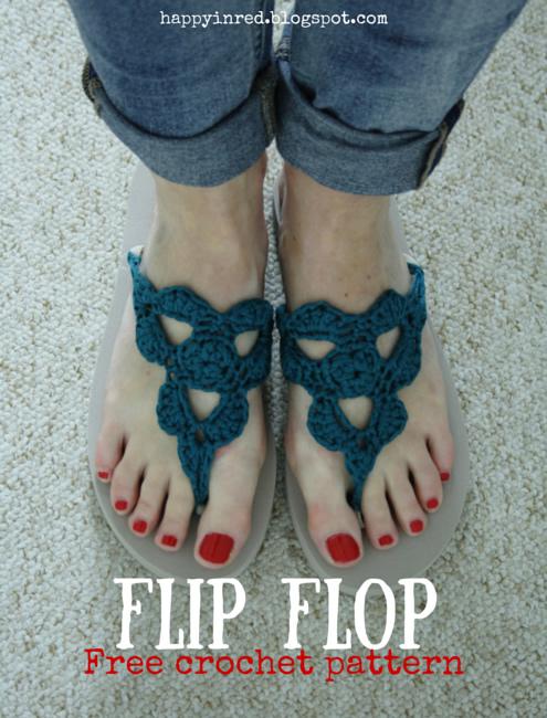 Crochet flip flops, free pattern | Happy in Red